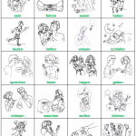 100 tarjetas con dibujo de verbos alemanes básicos