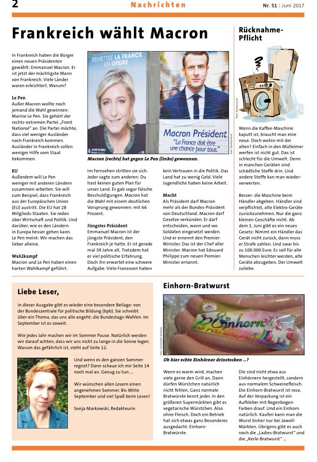 klar & deutlich: miniperiódico mensual en alemán simplificado